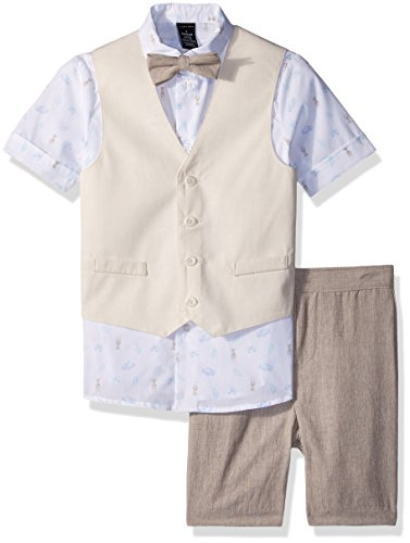 Sean John Toddler Boys' Four Piece Vest Set, Crisp Linen Safari, 4T