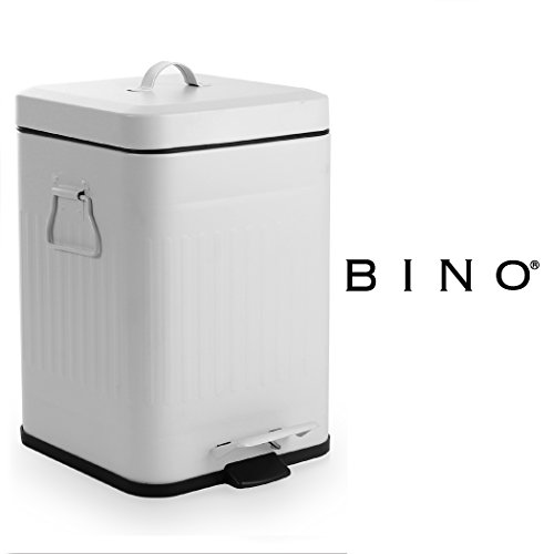 BINO Stainless Steel 1.3 Gallon / 5 Liter Square Oscar Step Trash Can, Matte White (White Kitchen Pedal Bin)
