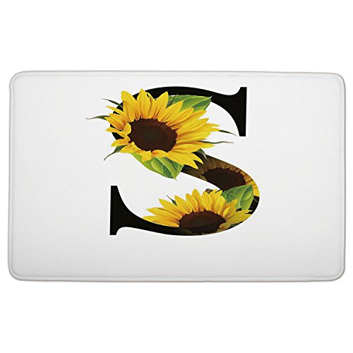 Flannel Microfiber Doormat Mat Rug Carpet Letter S Letter S With Flora Elements Sunflowers On Dark Colored Abstract Art Print Decorative Yellow Green Black Jpg Non Slip Rubber Backing Soft Absorbent F