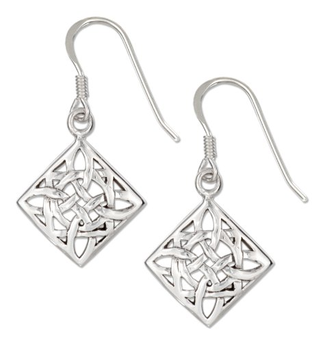 French Wire Scroll Design Earrings - Sterling Silver Diamond-shape Celtic Scroll Design Earrings on French Wires