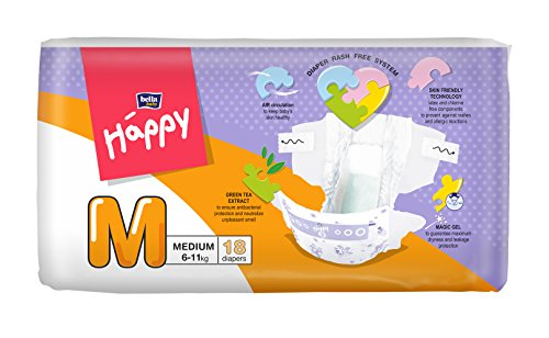 Bella Baby Happy Taped Diapers Medium M Size 18 Pieces