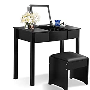 Giantex Bathroom Vanity Dressing Table with Flip Top Mirror 2 Drawers 3 Removable Organizers