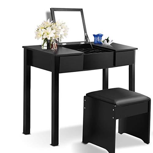 Giantex Bathroom Vanity Makeup Dressing Table with Flip Top Mirror 2 Drawers & 3 Removable Organizers, Black