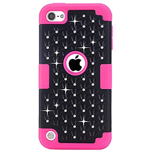 Black Free Ipod Touch - iPod Touch 5 Case, iPod Touch 6 Case, Easytop Diamond Studded Crystal Rhinestone 3 in 1 Bling Hybrid Shockproof Silicone and Hard PC Cover Case for Apple iPod Touch 5 6th Generation (Black + Hot Pink)
