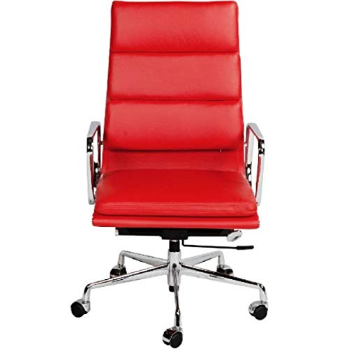 (LIVING TRENDS Soft Pad High Back Office Chair - Top Grain Italian Leather Aluminum Frame - Red)
