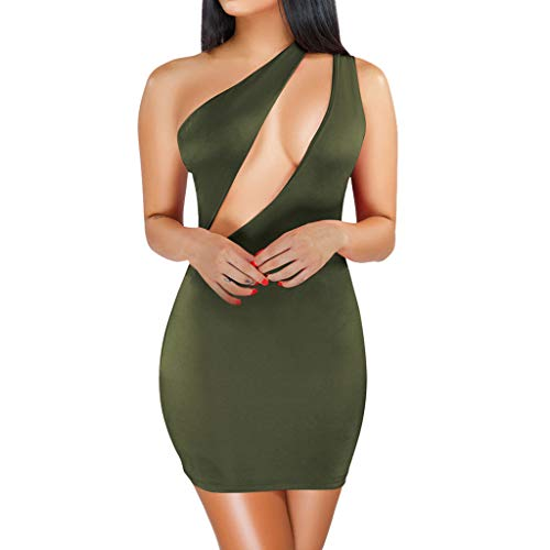 TIFENNY Women Sexy One-Shoulder Hollow Out Sleeveless Solid Slim Club Mini Dress Fashion Party Dresses -