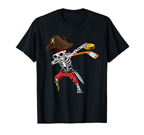 Dabbing Skeleton Jolly Roger Pirate Ice Hockey Halloween T-Shirt]()