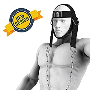 RIMSports Neck Harness for Weight Training, Ideal Neck Exercise Equipment for Neck Workout, Resistance Training, Weight Lifting, Adjustable Head Harness with Heavy Duty Steel Chain and Double D Rings
