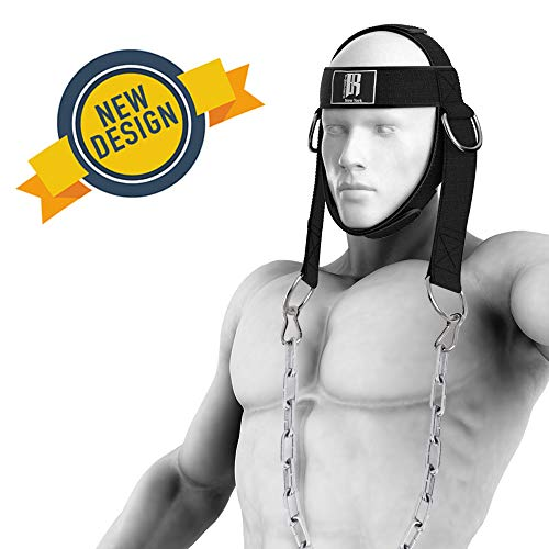 RIMSports Neck Harness for Neck Strengthening and Resistance Training - Fully Adjustable Neck Exerciser with Chin & Head Padding- Unique 4-D Rings - Chain Included