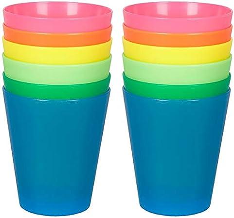 Lot de 6 lave-vaisselle empilables Neon de couleur Gobelets en plastique B/échers