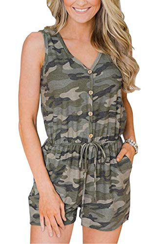 - iRealy Women Sleeveless Camouflage Jumpsuit Summer Button Down Playsuit Adjustable Waist Drawstring Cami Romper with Pockets