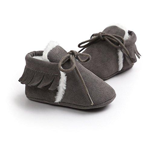 ESTAMICO Baby Mädchen Krabbelschuhe & Puschen grau grau 0-6 Monate Dunkelgrau