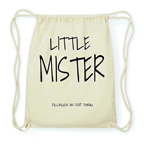 JOllify DILLINGEN AN DER DONAU Hipster Turnbeutel Tasche Rucksack aus Baumwolle - Farbe: natur Design: Little Mister i31KVIg9