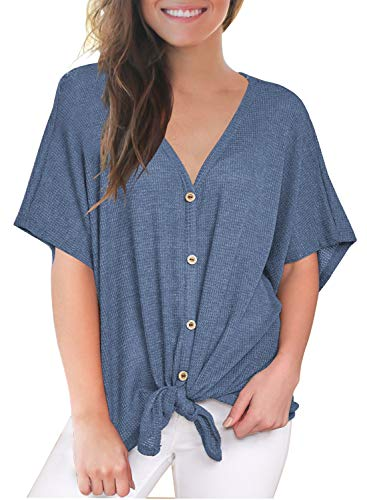 MIHOLL Short Sleeve Shirts for Women Short Sleeve V Neck Button Down Tie Front Knot Blouse Tops (Large, Blue)