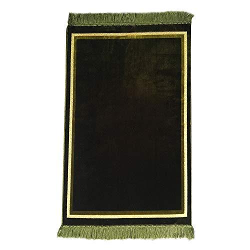 Al Arabia Plain Muslim Prayer Rug - Plush Velvet Fabric - Features Rectangle Design & Fringes On Both Sides - Islamic Prayer Mat - Ideal Gift for Ramadan & Special Occasions, 44 x 27