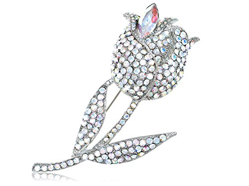 (Alilang Clear Flower Rose Silvery Tone AB Crystal Swarovski Stone Accent Fashion Brooch)