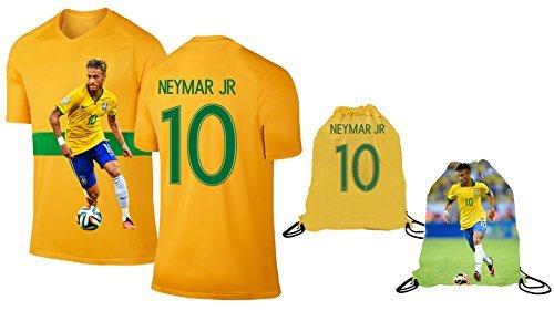 Neymar Jersey Style T-shirt Kids Neymar Jr Jersey Brazil T-shirt Gift Set Youth Sizes ✓ Premium Quality ✓ ✓ Soccer Backpack Gift Packaging (YL 10-13 Years Old, Neymar)