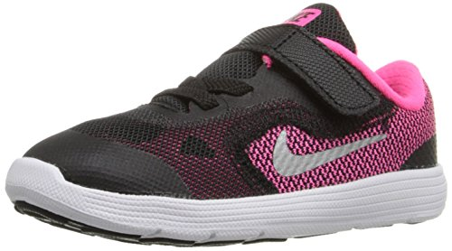 NIKE Girls' Revolution 3 Running Shoe (TDV), Black/Metallic Silver/Hyper Pink/White, 4 M US Toddler by NIKE