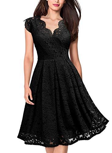 MISSMAY Women's Vintage Floral Lace Short Sleeve V Neck Cocktail Party Swing Dress, Medium, Black