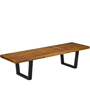 Poly and Bark George Nelson Platform Style Bench, 5', Walnut