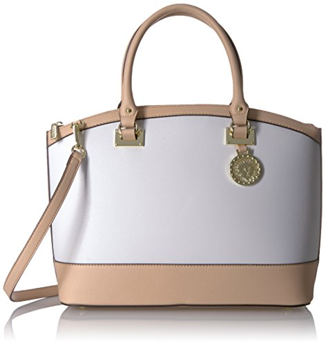 Anne Klein New Recruits Large Dome Satchel, Optic White-Natural