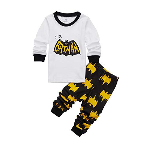 Meteora Boys Short Pajamas Toddler Kids Super Hero PJS Snug Fit Sleepwear Summer Clothes Shirts (Long Sleeve Batman, 3T)