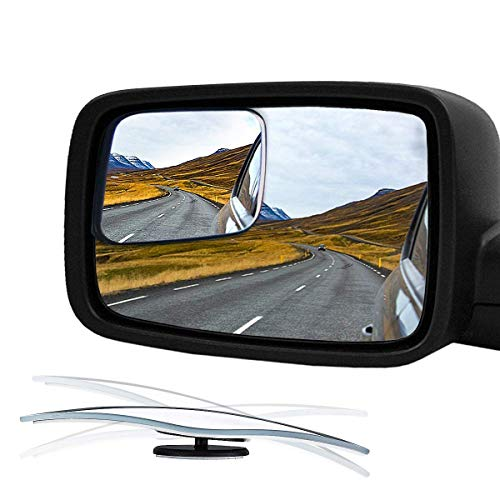 Audew Blind Spot Mirror for 2009-2018 Ram Truck & Other Trucks, HD Glass Frameless Convex Rear View Mirror, 360° Adjustable Car Mirror Stick-on Design (Pack of 2)