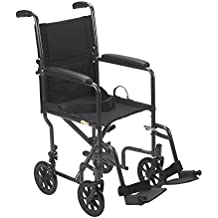 """Drive Medical Lightweight Steel Transport Wheelchair, Fixed Full Arms, 19""""..."""