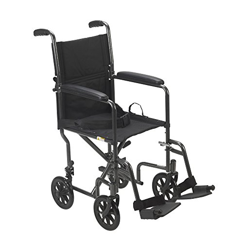 Drive Medical Lightweight Steel Transport Wheelchair, Fixed Full Arms, 19
