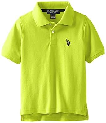 U.S. Polo Assn. Little Boys' Classic Short Sleeve Solid Pique Polo Shirt, Apple Green, 2T