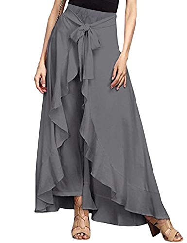 SEBOWEL Women's Ruffle Plain Wide Leg Split Tie-Waist Maxi Long Palazzo Overlay Pant Skirts Grey XL
