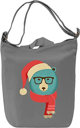 Hipster bear Borsa Giornaliera Canvas Canvas Day Bag| 100% Premium Cotton Canvas| DTG Printing|