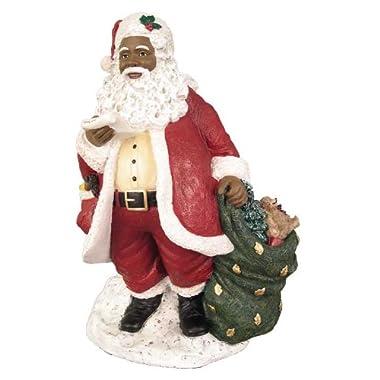 African American Christmas Santa with List Figurine