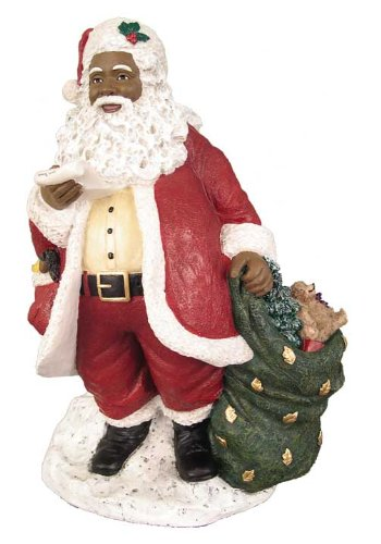 Figurines Black Santa (African American Christmas Santa with List Figurine)