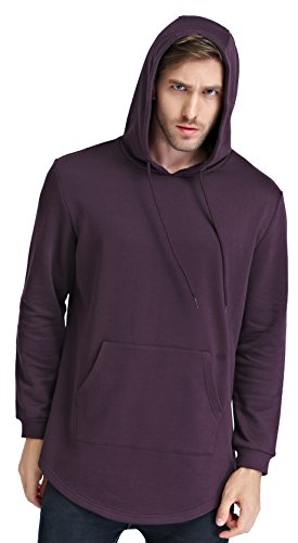 Bertte Men's Tall Size Hoodie Sweatershirt, Burgundy, XX-Large