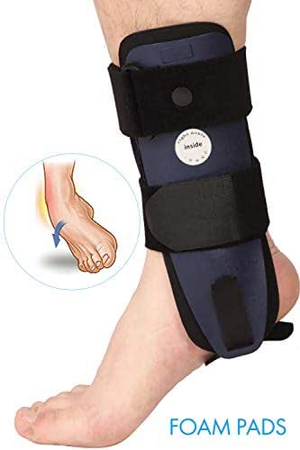 Velpeau Ankle Brace - Stirrup Ankle Splint - Adjustable Rigid Stabilizer for Sprains, Strains, Post-Op Cast Support and Injury Protection (3-Dimensional Molded Pads, Small - Right Foot)