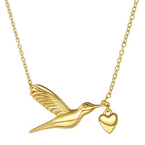 (SILVERCUTE Novelty Heart Hummingbird Women Necklace 925 Sterling Silver Fine Jewelry Bird Pendant & Chain (18k-Gold-Plated-Sterling-Silver))