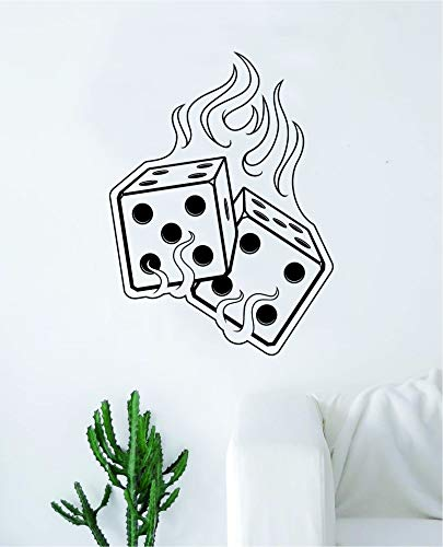 - Boop Decals Flaming Dice Wall Decal Sticker Vinyl Art Bedroom Living Room Decor Decoration Teen Quote Inspirational Boy Girl Motivational Vegas Game Gaming Gamble Casino Bar