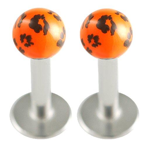 (16g 16 gauge 1.2mm 1/4 6mm Steel Lip Bar Labret Ring Monroe Ear Tragus Stud AZCL Piercing Jewellery 2pcs)