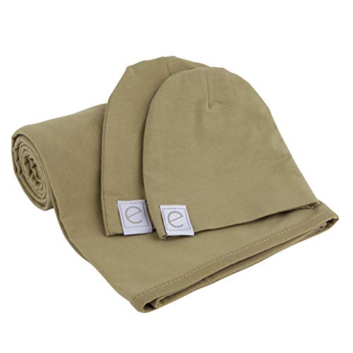 Cotton Knit Jersey Swaddle Blanket and 2 Beanie Gift Set, Large Receiving Blanket - Olive