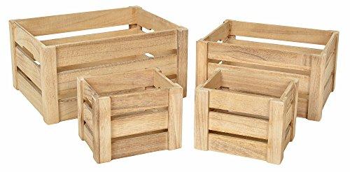 Set Di 4 Cassette In Legno Boxes Custodia Libri Frutta  Legno   Colore Legno  Naturale: Amazon.it: Casa E Cucina