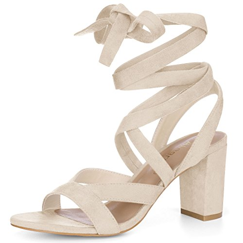 (Allegra K Women's Lace up Beige Sandals - 7 M US )