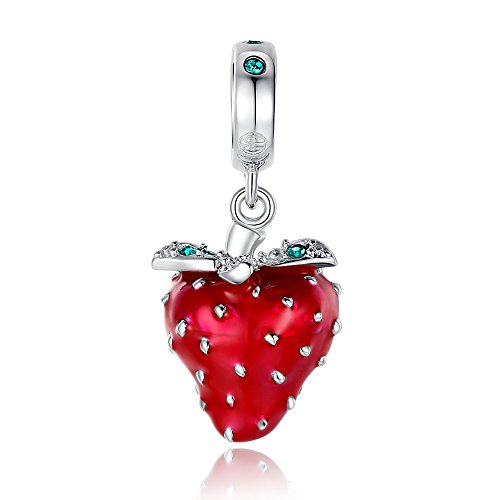 Glamulet Art Women's 925 Sterling Silver Sparkling Green Swarivski Crystal Red Enamel Strawberry Dangle Charm Fits Pandora Bracelet (Twin Fit Dress Form compare prices)