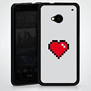 Carcasa Design Funda para HTC One M7 HardCase black - 8-Bit Heart