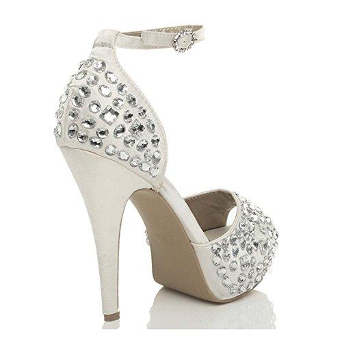 Chaussures Blanc Femmes Talon Bout Mariage Pointure Haut À Ouvert Empierré Plateforme SRYqOTA