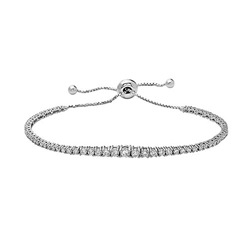 925 Sterling Silver Women Round Crystal Bracelet, pull for comfortable fit. by Crush & Fancy