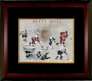 Athlon CTBL-MB15828 Brett Hull Signed Career Collage Photo Custom Framed - Detroit Wings - St. Louis Blues - Calgary Flames - Dallas Stars - JSA - Red - 16 x 20