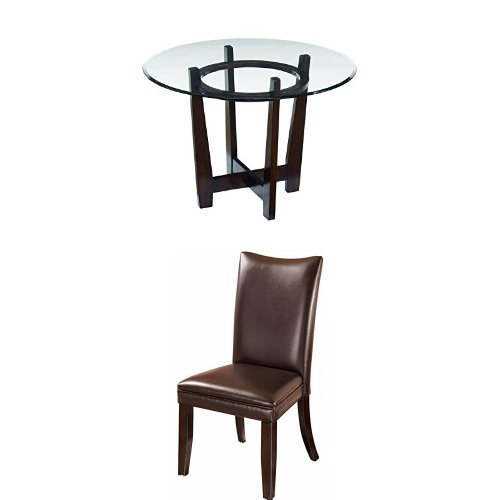 Ashley Furniture Signature Design - Charrell 5-Piece Dining Room Table Set - Includes Round Glass Table & 4 Upholstered Chairs - Brown