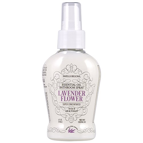SMELLS BEGONE Essential Oil Air Freshener Bathroom Spray - Eliminates, Neutralizes and Purifies Air & Toilet Odors - Made with 100% Pure Essential Oils -Super Concentrated - 4 Ounces (Lavender Flower)