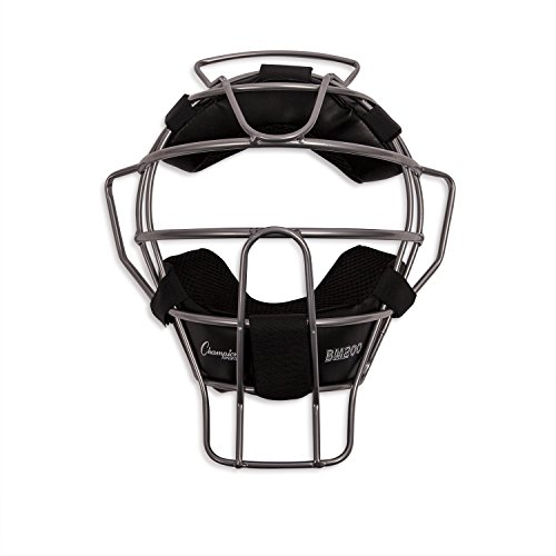 Champion Sports Umpire Face Mask: Lightweight Adult Umpiring Equipment Protection Masks for Baseball or Softball with Strap and Pads - Silver